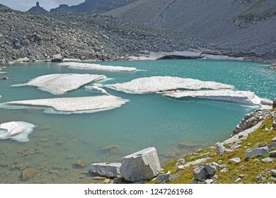 The Chriegalp Pass on the border between Switzerland and Italy with a glacial lake and small icebergs