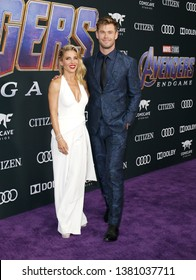 Chris Hemsworth and Elsa Pataky at the World premiere of 'Avengers: Endgame' held at the LA Convention Center in Los Angeles, USA on April 22, 2019.