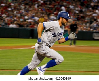 Chris Taylor 3rd baseman for the Los Angles Dodgers at Chase Field in Phoenix Arizona USA April 22,2017.