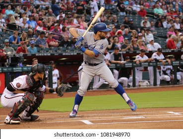 Chris Taylor outfielder for the Los Angeles Dodgers at Chase Field in Phoenix Arizona USA April 30,2018.  D-Backs