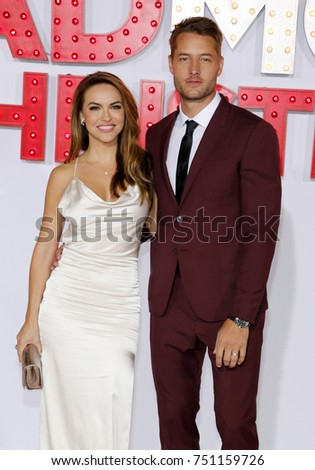 A Bad Moms Christmas Justin Hartley.Chrishell Stause Justin Hartley Los Angeles Stock Photo