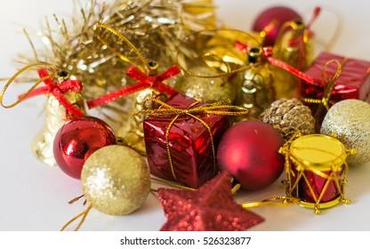 Chrismas balls and gift box on white background
