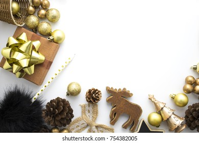 chrismas gold set decoration on white background in top view fla