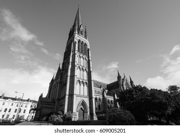 Christ Church in Clifton in Bristol, UK in black and white