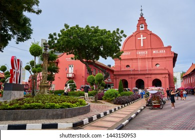 Christ Church in Malacca, Historic Protestant Red Church. Malacca, Malaysia,20.06.2019