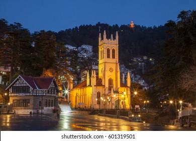 Christ Church, Shimla at night