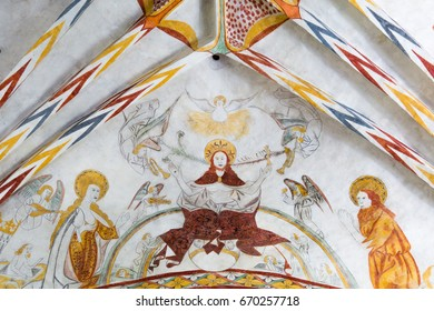 Christ is coming on the day of judgment, sitting on the rainbow, a gothic fresco in Vinderslev church, Denmark, June 22 2017