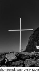 Christ cross in Sarpi. Georgia. BW