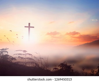 Christ Jesus concept: cross in the morning at sunrise