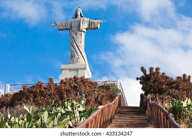 The Christ the King statue is a Catholic monument on Madeira island, Portugal