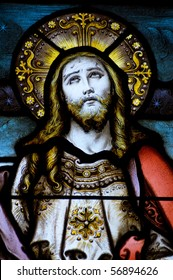 Christ looking to heaven stained glass window A Victorian stained glass window depicting Jesus Christ looking to heaven. Window created over 100 years ago, on public display.