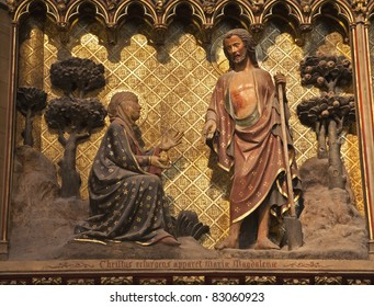 Christ and Mary Magdalen - relief from Notre-Dame cathedral in Paris