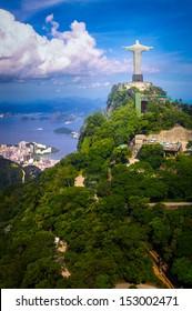 Christ the Redeemer statue on the top of a mountain, Rio De Janeiro, Brazil