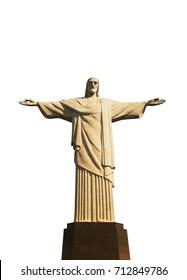 Christ Redeemer Statue in Rio de Janeiro, Brazil white isolated