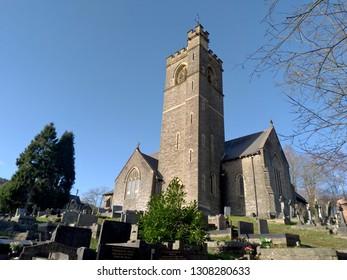 Christchurch Aberbeeg UK 01/27/2019: Church viewed from graveyard