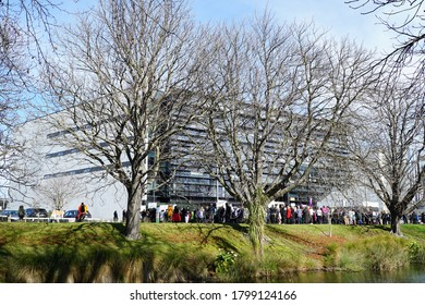 Christchurch, Canterbury / New Zealand - August 20 2020: Doctors gather outside the Canterbury District Health Board corporate building on Oxford Tce, Christchurch, to protest executive resignations.