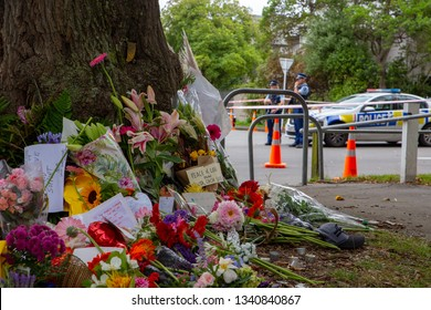 Christchurch, Canterbury, New Zealand, March 17 2019: Flowers to remember the victims of the March 15 2019 Christchurch Mosque Shootings