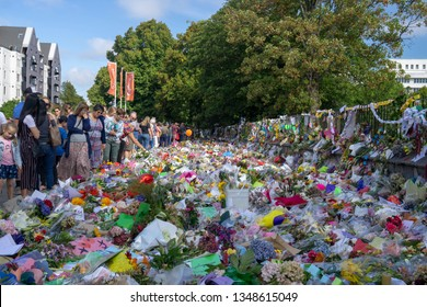 Christchurch, Canterbury, New Zealand, March 22 2019: A flower bed as an homage to remember the victims of the March 15 2019 Christchurch Mosque Shootings