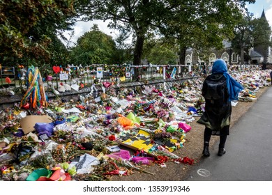 Christchurch, Canterbury, New Zealand, March 29 2019: People continue to lay flowers in Christchurch, 2 weeks after the March 15 Mosque Shootings. Fifty died and 50 were injured in the terror attacks
