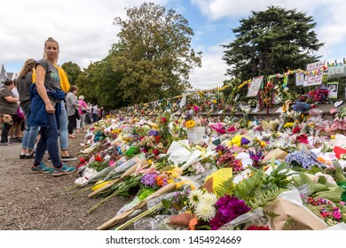 Christchurch, Canterbury / New Zealand: March 19 2019 - Flowers and tributes placed at the Botanical Gardens after the Christchurch terrorist attack