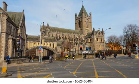 Christchurch Cathedral Dublin - most famous church in the city - DUBLIN / IRELAND - MARCH 21, 2018