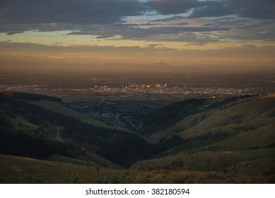 Christchurch city from the top view during sunset