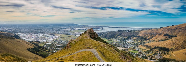 Christchurch city view from Port Hills, New Zealand