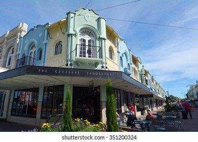 CHRISTCHURCH - DEC 04 2015:Cafe restaurant in New Regent Street. Christchurch's beloved New Regent Street is reclaiming its place as a one of the most popular shopping and visitor destination