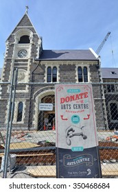 CHRISTCHURCH - DEC 04 2015:Donation money to Christchurch Arts Centre sign.Following 2011 Christchurch earthquake the complex closed and require major repair work estimated at NZ$290m.
