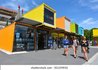 CHRISTCHURCH - DEC 04 2015:Re:START. It's a popular temporary mall built from shipping containers created in response to 2011 Christchurch earthquake, which destroyed most buildings in City Mall.
