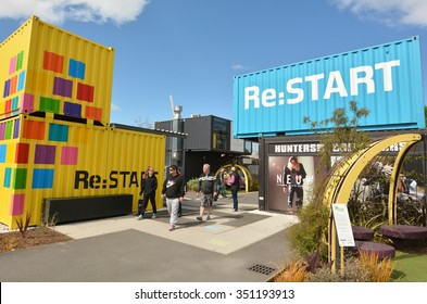 CHRISTCHURCH - DEC 06 2015:Re:START. It's a popular temporary mall built from shipping containers created in response to 2011 Christchurch earthquake, which destroyed most buildings in City Mall.