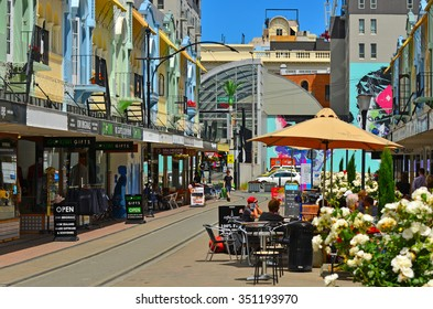 CHRISTCHURCH - DEC 07 2015:Cafe restaurant in New Regent Street. Christchurch's beloved New Regent Street is reclaiming its place as a one of the most popular shopping and visitor destination
