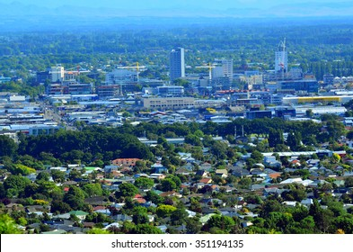 CHRISTCHURCH - DEC 08 2015:Aerial view of Christchurch city center new skyline.In 2011 earthquake the city were badly affected with damage to buildings and infrastructure killing 185 people.