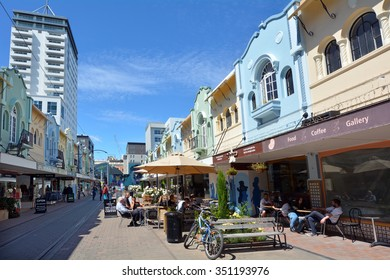 CHRISTCHURCH - DEC 08 2015:Cafe restaurant in New Regent Street. Christchurch's beloved New Regent Street is reclaiming its place as a one of the most popular shopping and visitor destination