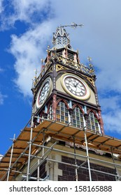 Christchurch Earthquake Rebuild - Repairs start on the landmark Diamond Jubilee Clock Tower  in Victoria Street, Christchurch. Note the clock is stuck on ten to one  when a massive earthquake struck.
