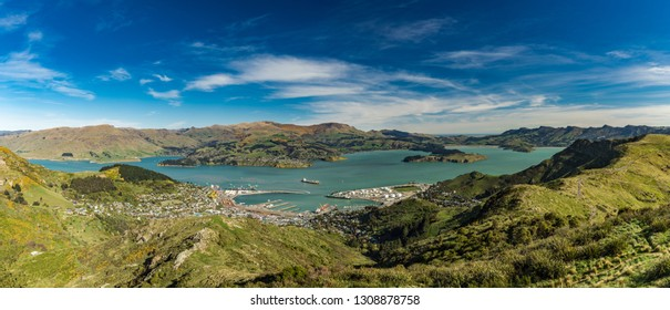 Christchurch Gondola and the Lyttelton port from Port Hills in New Zealand, South Island