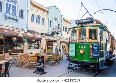 CHRISTCHURCH - MAY 06 2016: Tramway from New Regent Street Precinct.The tramway operate since 1882 and become one of the symbols of this town and a popular attraction for tourists.