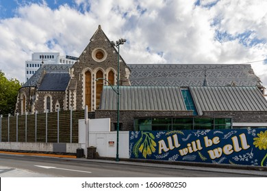 Christchurch, New Zealand - 11 December 2019: The fenced ruins of the Christchurch Cathedral, heavily damaged by the 2011 Canterbury Earthquake
