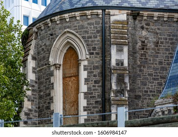 Christchurch, New Zealand - 11 December 2019: Closeup of a broken window-frame of the Christchurch Cathedral, the damage caused by the 2011 Canterbury Earthquake