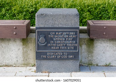 """Christchurch, New Zealand - 11 December 2019: Memorial to the Salvation Army, shich """"opened fire"""" in Christchurch on 20 May 1883"""