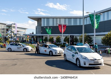 Christchurch, New Zealand - 11 December 2019: Taxis waiting in front of Christchurch International Airport