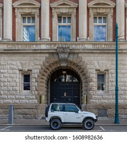 Christchurch, New Zealand - 11 December 2019: Entrance to the former Government Building, a heritage building, designed by Joseph Maddison in 1909. Now home to the Heritage Hotel Christchurch.