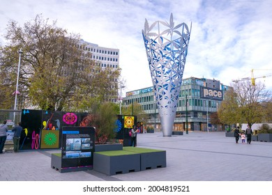 Christchurch, New Zealand - 15 May, 2016: Cathedral Square, is the geographical centre and heart of Christchurch, New Zealand