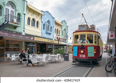 Christchurch, New Zealand - 15 May, 2016: The hop on hop off tram on New Regent Street. The Hop-on Hop-off Tram Tour is one of Christchurch's leading attractions.