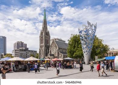 Christchurch, New Zealand: 18 February 2011 - Street market in Cathedral Square, Christchurch, New Zealand.