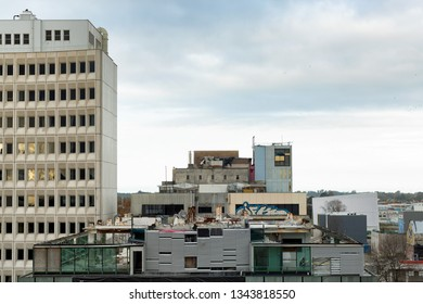Christchurch, New Zealand, April 23, 2013: View of building damaged in the 2011 earthquake which caused widespread damage thoughout the New Zealand south island city of Christchurch