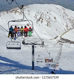 Christchurch, New Zealand - August 19, 2018: Skiers on the Chairlift at the Top of Mount Hutt Ski Field, Canterbury, New Zealand.