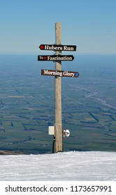 Christchurch, New Zealand - August 19, 2018: Mount Hutt Ski Runs Sign, Canterbury, New Zealand. In the back ground are the Canterbury Plains.
