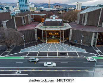 Christchurch, New Zealand - August 2019. Aerial view of Christchurch town hall