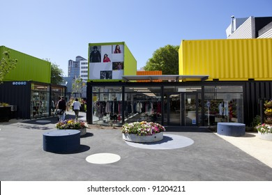 CHRISTCHURCH, NEW ZEALAND - DEC 1:City Mall, new shopping precinct created in aftermath of earthquakes utilising shipping containers,December 1st 2011, Christchurch New Zealand